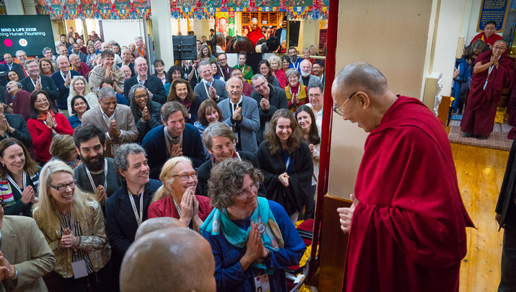 His Holiness the Dalai Lama arriving at the Main Tibetan Temple for the second day of the Mind & Life Conference - Reimagining Human Flourishing - in Dharamsala, HP, India on March 13, 2018. Photo by Tenzin Choejor