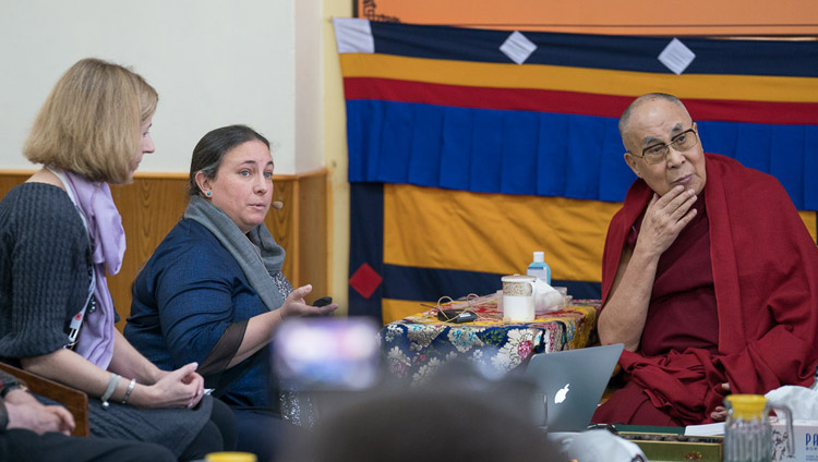 Tara Wilkie looks on as Sophie Langri delivers her presentation on the second day of the 33rd Mind & Life Conference at the Main Tibetan Temple in Dharamsala, HP, India on March 13, 2018. Photo by Tenzin Choejor