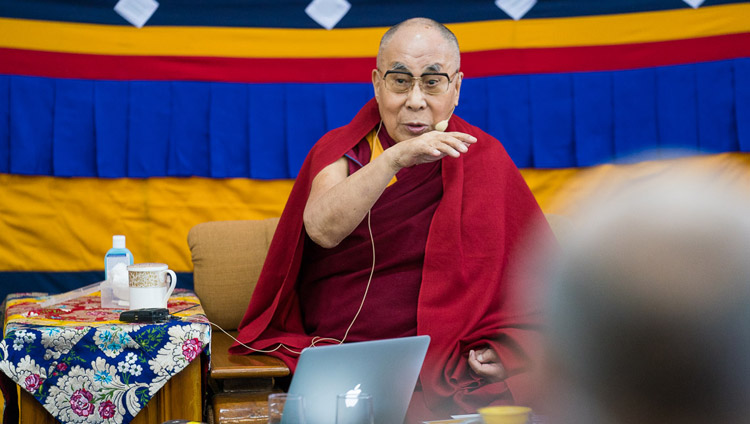 His Holiness the Dalai Lama commenting on the presentations during the second day of the 33rd Mind & Life Conference at the Main Tibetan Temple in Dharamsala, HP, India on March 13, 2018. Photo by Tenzin Choejor