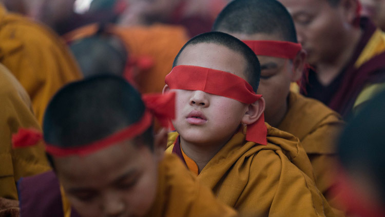 Young monks wearing ritual blindfolds during the 34th Kalachakra Empowerment in Bodhgaya, Bihar, India in January of 2017. (Photo by Tenzin Choejor/OHHDL)